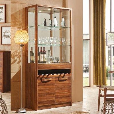 新柜爾 現代中式實木酒柜大容量餐邊柜儲物柜間廳柜隔斷RJ01