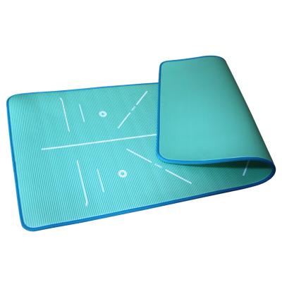 紅雙喜(DHS)瑜伽墊升級款男女通用防滑加寬加大加厚專業健身墊仰臥起坐運動墊NBR材質JSD010-3湖藍色送收納束帶
