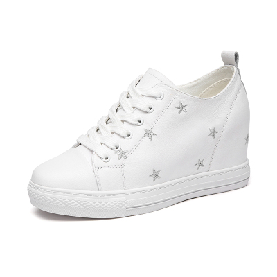 紅蜻蜓女鞋春季頭層牛皮韓版內增高小白鞋學生百搭休閑鞋板鞋