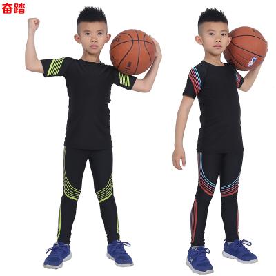 春夏兒童短袖健身服套裝運動緊身衣彈力籃球足球打底訓練速干衣男