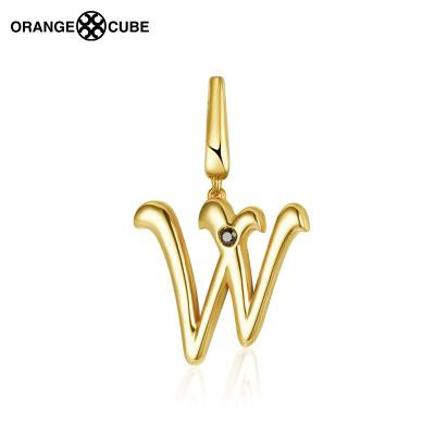 澳洲orange cube 字母系列 女士新款掛墜18K金手鏈掛件字母W潮流個性百搭