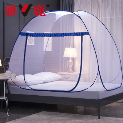 雅鹿 免安装蒙古包蚊帐1.8米1.2米帐子单开门有底自动魔术蚊帐1.5米
