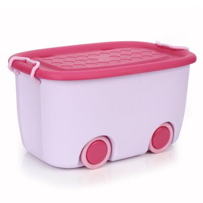 大號兒童玩具塑料整理箱智扣幼兒園帶滑輪衣服收納盒有蓋儲物箱 紫色 大號【2個裝】