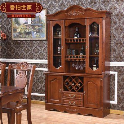 歐式隔斷柜美式實木定制玻璃酒柜餐邊柜定制2米 1.5米 1.28米象牙白 雙