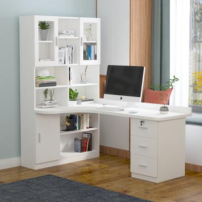 檀星星轉角書桌書架組合實木兒童臥室學習桌書柜一體家用學生臺式電腦桌