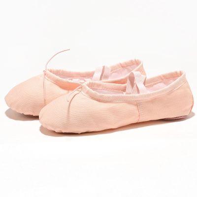 兒童舞蹈鞋女童男軟底套腳練功鞋瑜伽芭蕾舞鞋帆布小孩貓爪鞋