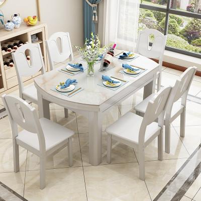 大理石實木餐桌椅組合伸縮折疊現代簡約小戶型家用吃飯玻鋼石餐桌