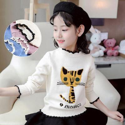 加絨加厚秋冬款女童裝兒童洋氣韓版套頭針織衫中大童時尚白色毛衣 莎丞
