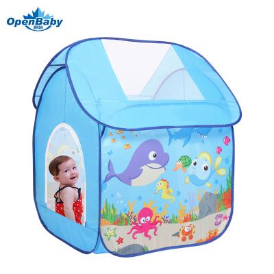 歐培(OPEN BABY)兒童帳篷室內玩具游戲房玩具屋 兒童游戲屋海洋球池 海洋樂園款 藍色 送50球