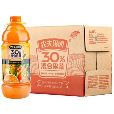 农夫山泉农夫果园30%混合果蔬汁1.8L橙+胡萝卜+苹果+菠萝+猕猴桃+樱桃李普通装1*6瓶整箱
