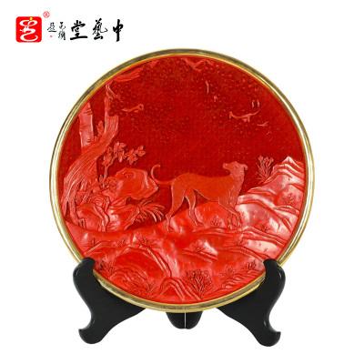 中藝盛嘉楊之新雕刻工藝品現代中式家居擺件雕漆十二生肖賞盤中藝堂收藏品