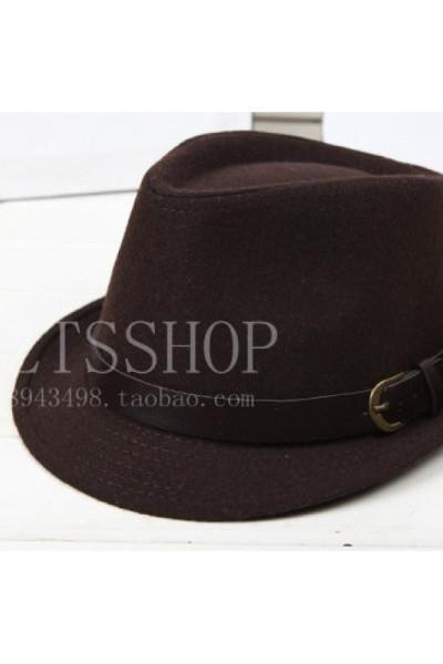 秋冬天男女士毛呢爵士皮带扣帽子韩版潮流英伦复古小礼帽时尚帽子