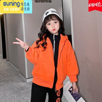 女童加絨加厚外套2019新款洋氣韓版兒童冬裝中大童保暖上衣潮 七斕兒童保暖上裝