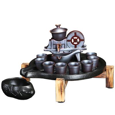 茶具茶盤套裝功夫茶具家用簡約紫砂茶杯復古半自動創意茶道懶人