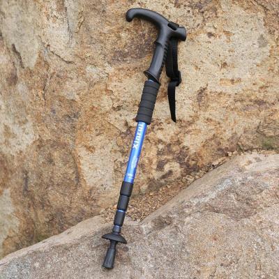 便捷式户外T型 直柄4节伸缩登山杖 徒步旅行手杖拐杖健走杖