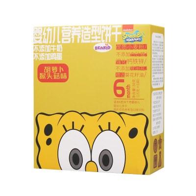 beakid 海绵宝宝婴幼儿营养造型低敏饼干 胡萝卜猴头菇味 90g 盒装