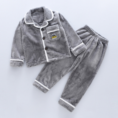 儿童法兰绒睡衣秋冬季款中大男童宝宝珊瑚绒套装小男孩女孩家居服纤婗(QIANNI)