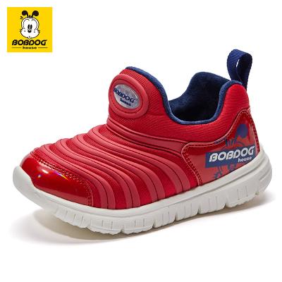 BOBDOG HOUSE巴布豆童鞋冬季新款儿童毛毛虫鞋加绒男童女童运动鞋B9483