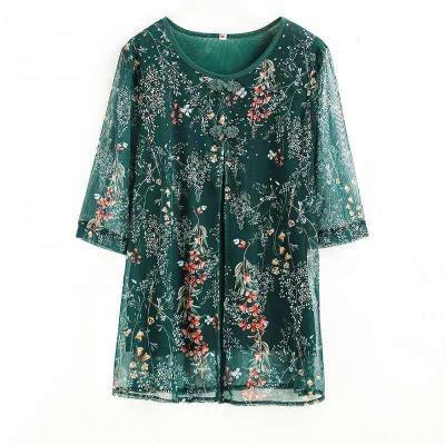 2019新款中老年夏季媽媽裝假兩件寬松型大碼百搭T恤女夏裝蕾絲上衣氨綸莎丞