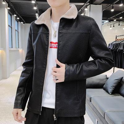 跨洋(KUAYANG) 主推2019新款加绒仿皮机车夹克冬季加绒保暖棉衣经典外套男外衣JK05
