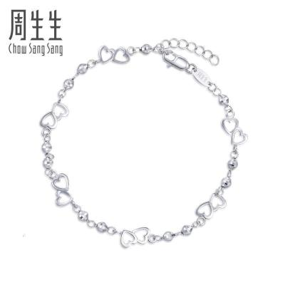 周生生(CHOW SANG SANG)Pt950鉑金Loving Hearts心影手鏈90420B計價