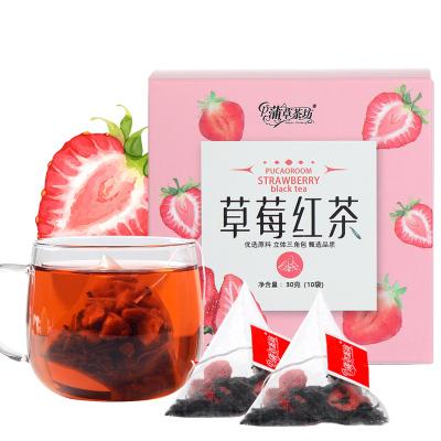 蒲草茶坊 草莓紅茶袋泡三角包共泡花茶包花果茶水果茶組合花茶茶葉10袋共30g