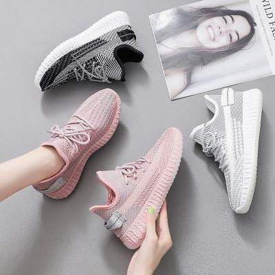 跨馬KYMA 經典女士椰子時尚飛織夏季透氣網布鞋女鞋子女2020新款女士休閑鞋青少年小白鞋學生鞋N