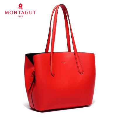 MONTAGUT брэндийн эмэгтэй загварлаг арьсан цүнх улаан