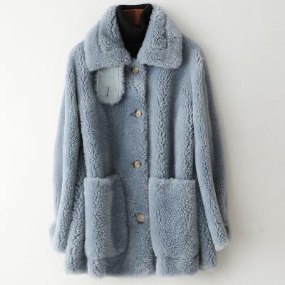 秋冬新款小颗粒羊毛皮大衣女式复合皮毛一体外套W