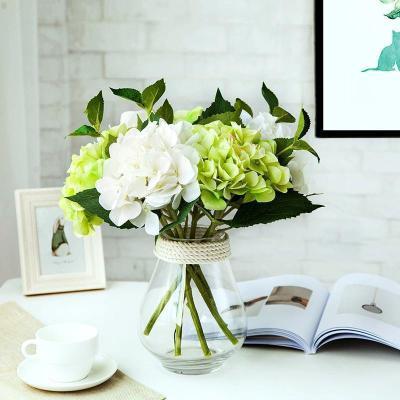 花瓶+3白2綠(繡球款) 現代簡約透明玻璃花瓶家居客廳餐廳小清新裝飾品仿真干花花插擺件【定制】