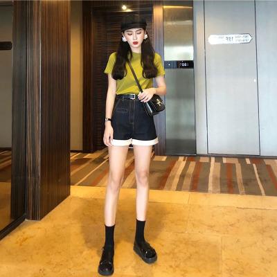納蘭嘉措夏裝2020新款網紅氣質牛仔褲女減齡兩件套短袖T恤很仙法國小眾洋氣顯瘦女士套裝