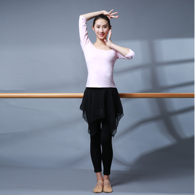 成人练功服装瑜伽服方领舞蹈服短袖半袖广场舞形体服现代舞服女