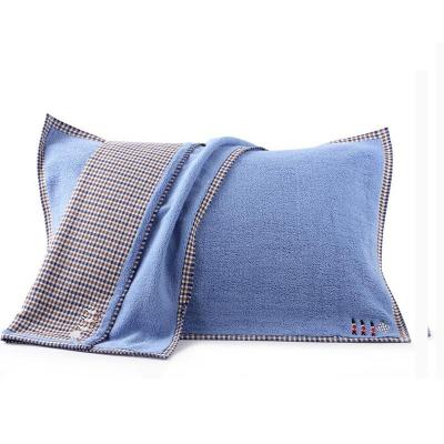 洁丽雅(Grace)枕巾纯色绣花加大枕巾一对高档加厚情侣枕巾成人枕头巾双层