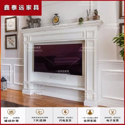 蘇寧放心購美式實木壁爐電視柜后現代客廳影視墻裝飾白色簡約背景壁爐架定制簡約新款