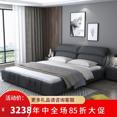 渝州 芝華士 品質北歐輕奢布藝床布藝軟包雙人床1.8米臥室簡約現代小戶型可拆洗榻榻米