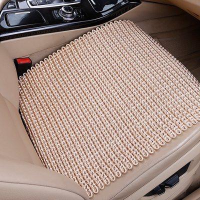 汽車坐墊夏季單片免綁冰絲車墊子亞麻三件套手編涼墊四季通用座墊 【淺金色】冰絲純色方墊