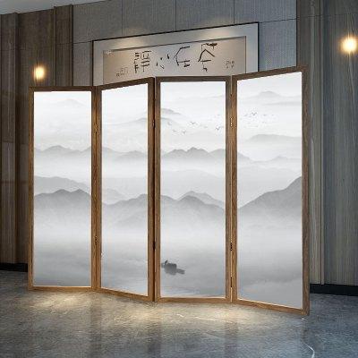 新中式山水屏風折疊閃電客隔斷移動客廳大廳飯店入戶玄關中國風紅木折屏