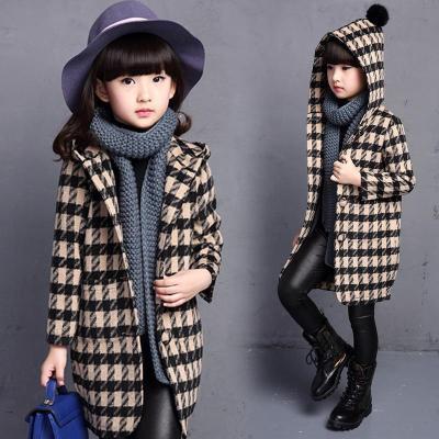 女童秋装韩版小女孩格子毛呢外套中大童秋冬季外套中长款呢子大衣