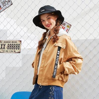 【1件3折价:94.8】美特斯邦威夹克女简约学生棒球服ins织带短外套秋新款