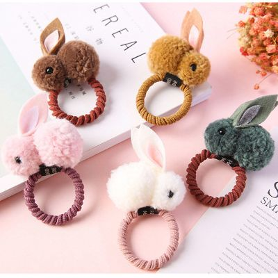 秋冬毛球兔子發圈兒童發夾可愛卡通扎頭發皮筋發飾韓國寶寶頭飾女