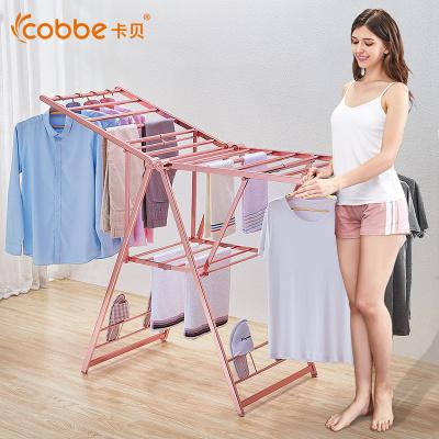 卡貝(cobbe)晾衣架落地折疊室內家用移動翼型簡易晾衣桿陽臺涼衣架曬衣架 中號160cm玫瑰金