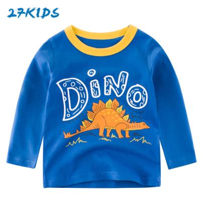 27Kids 兒童長袖T恤休閑卡通童裝韓版兒童T恤男女寶寶衣服打底衫