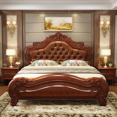 歐式實木床軟靠1.5m單人床實木床1.8米雙人床臥室美式床儲物婚床