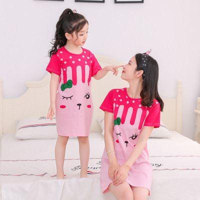 兒童睡裙短袖夏季女童親子寶寶薄款公主裙女孩睡衣親子裙