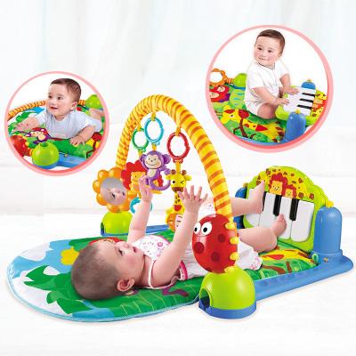 澳貝 AUBY嬰兒腳踏鋼琴健身架 寶寶健身器(0-18個月)布;塑料森林鋼琴健身架463325 送5只裝搖鈴463157
