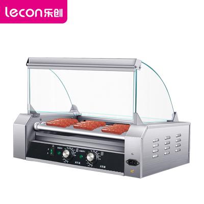 樂創(lecon) 烤腸機 KG-9 商用電熱烤腸機小型 雙溫控臺式全自動迷你烤香腸熱狗機帶防塵罩擺攤香腸機 9管
