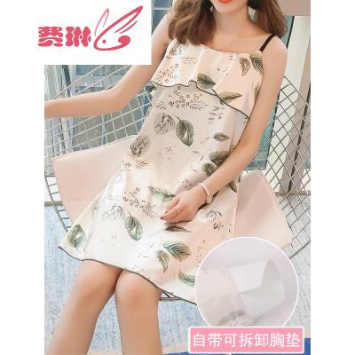 費琳睡衣女夏季韓版短袖冰絲吊帶睡裙春秋性感真絲薄款家居服胸墊葉子