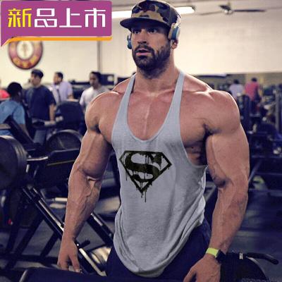 健身背心寬松健美運動吊帶工字訓練簡約背心T恤吸汗肌肉 灰CR超人 XL