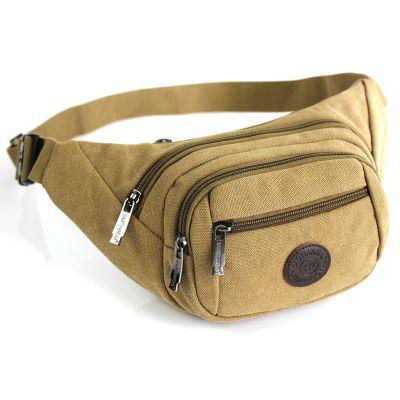 户外休闲腰包男女士帆布包手机包男士胸包大容量多功能斜挎包男包