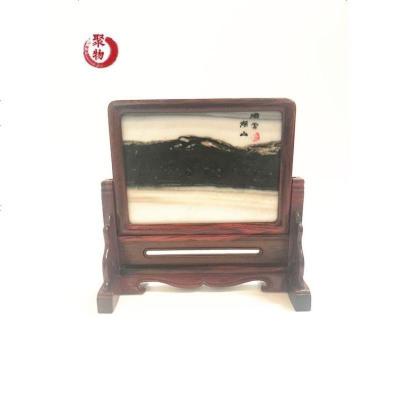 红酸枝木雕嵌天然大理石插屏 台屏小屏风桌面摆件